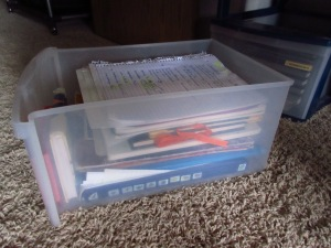 This drawer is entirely full of creative writing things. And yes, that paper on top is a normal notebook page.