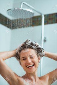 happy showering