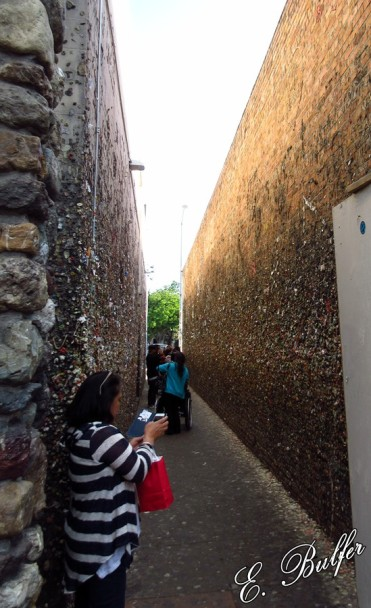 This is Bubblegum Alley, all of the spots are pieces of gum.