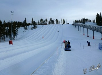 The tubing hill! Dan is the little speck on the hill!